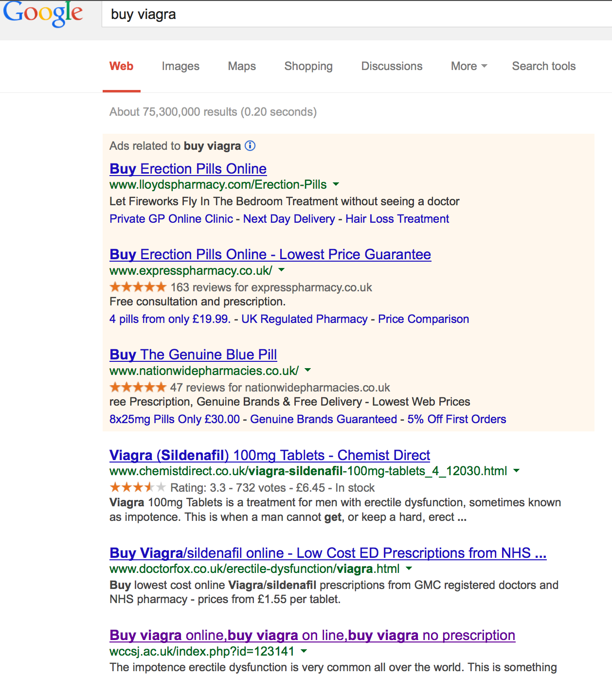 Hacked site in buy viagra SERPs