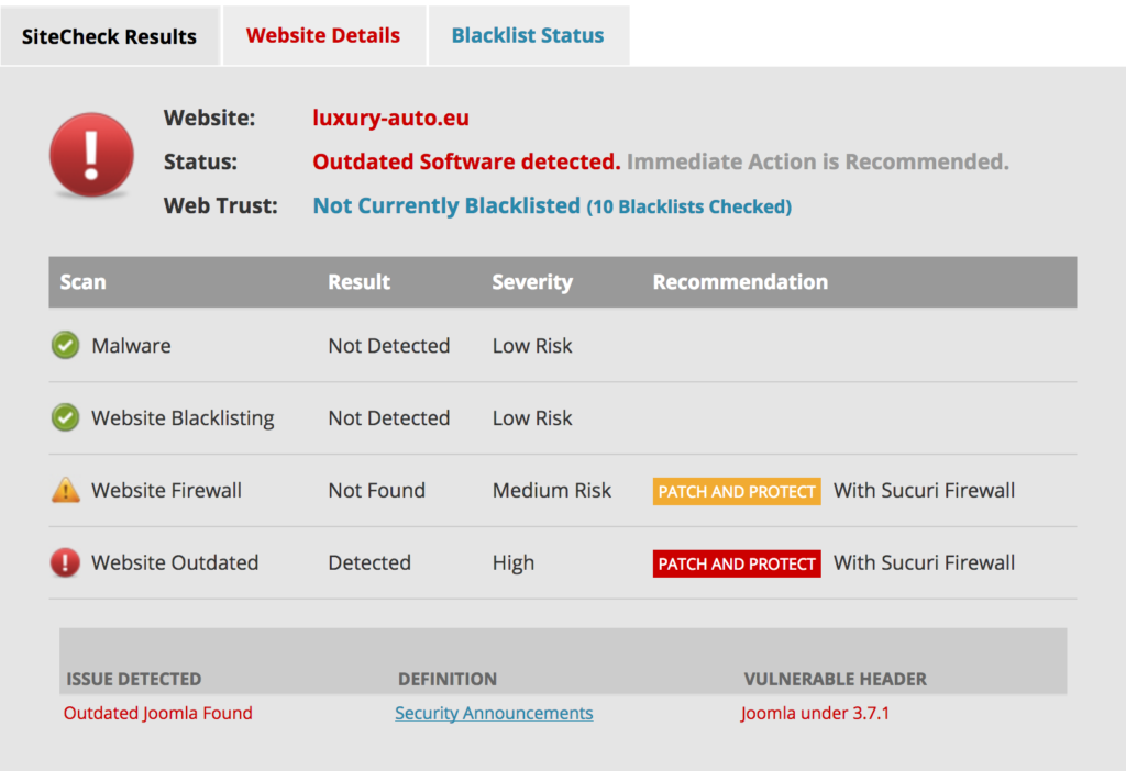 hacked site Sucuri scan - outdated Joomla